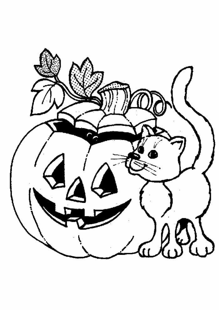 gato para colorir no halloween