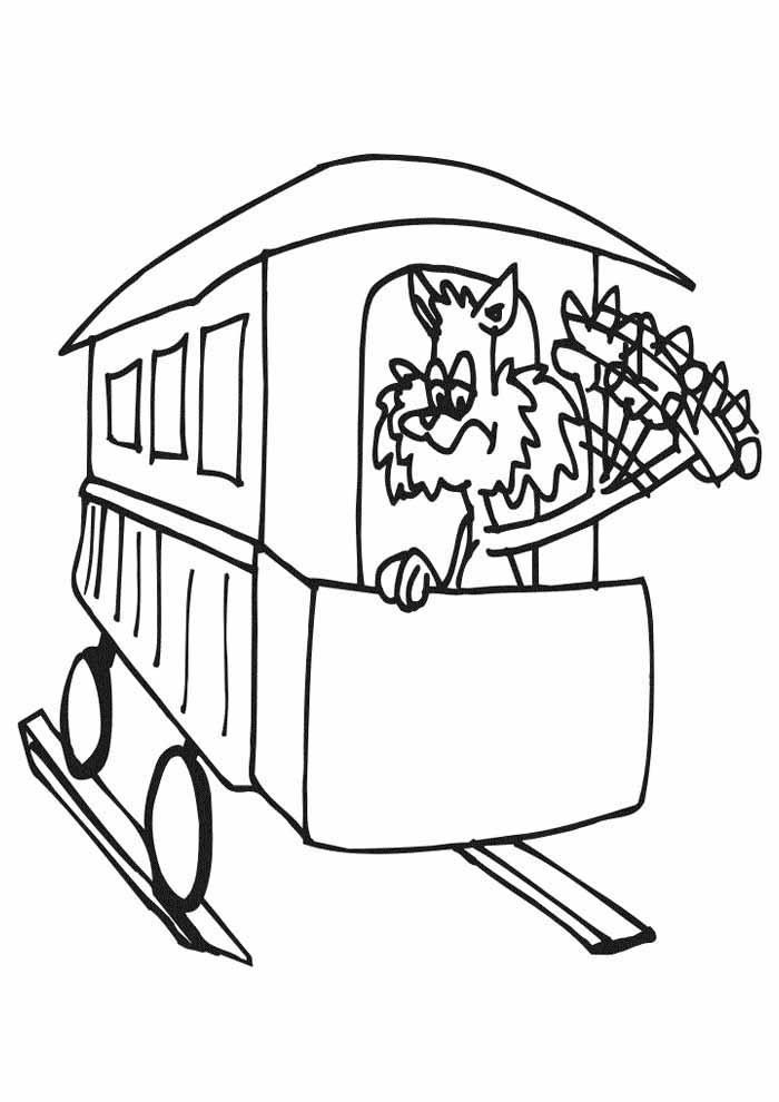 gato para colorir no trem