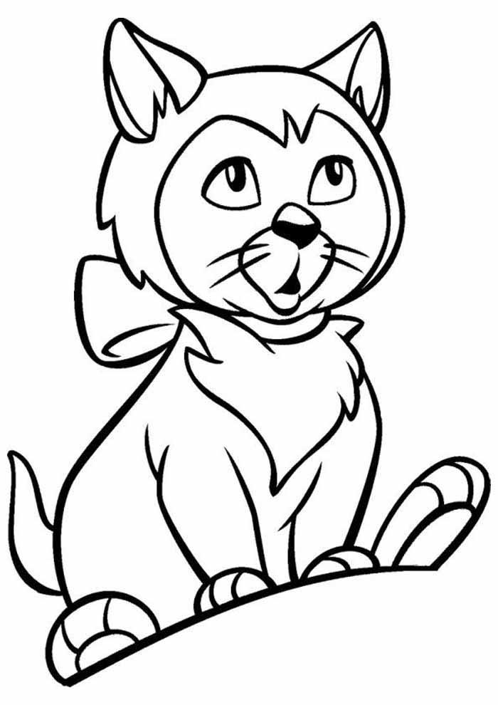 gato para colorir olhando com atencao