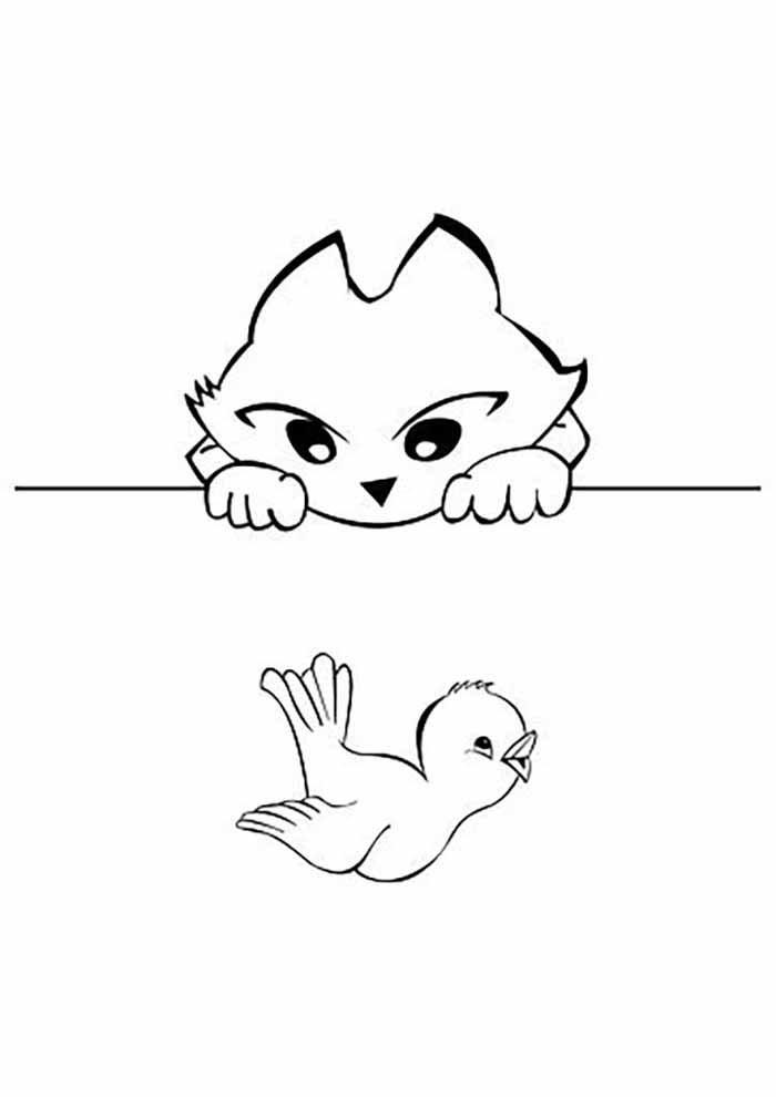 gato para colorir olhando passarinho