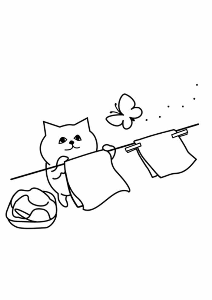 gato para colorir pendurando roupa no varal