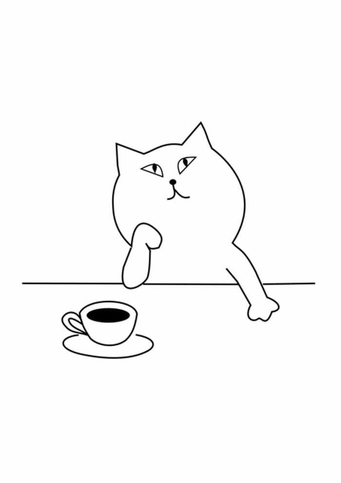 gato para colorir pensativo