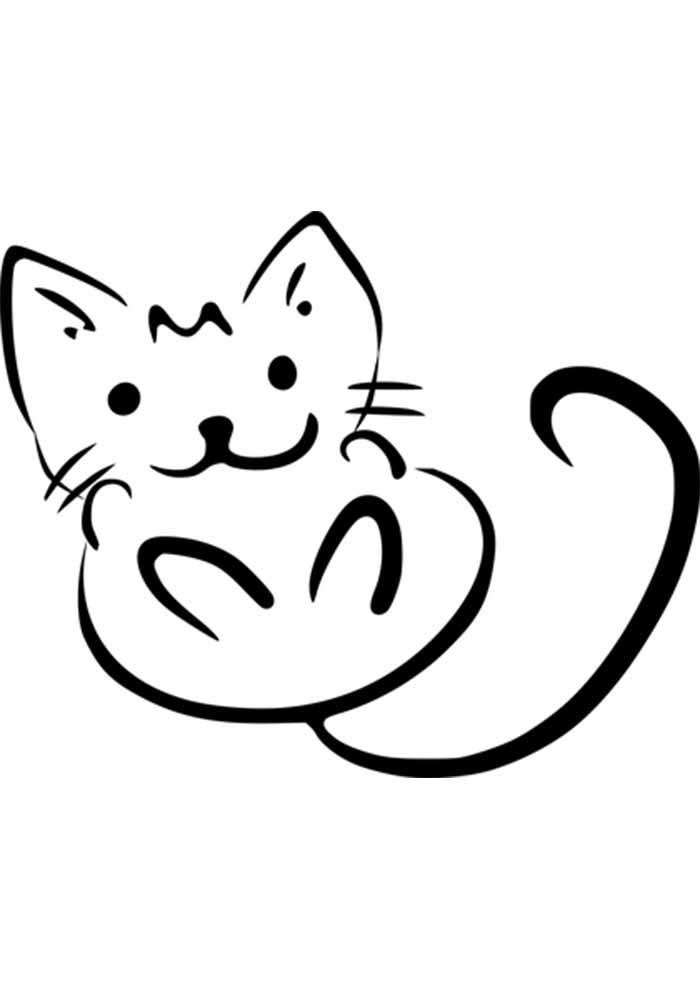 gato para colorir pequeno