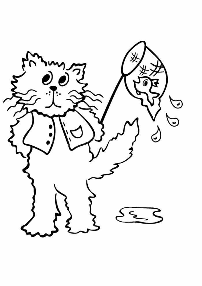 gato para colorir pescando