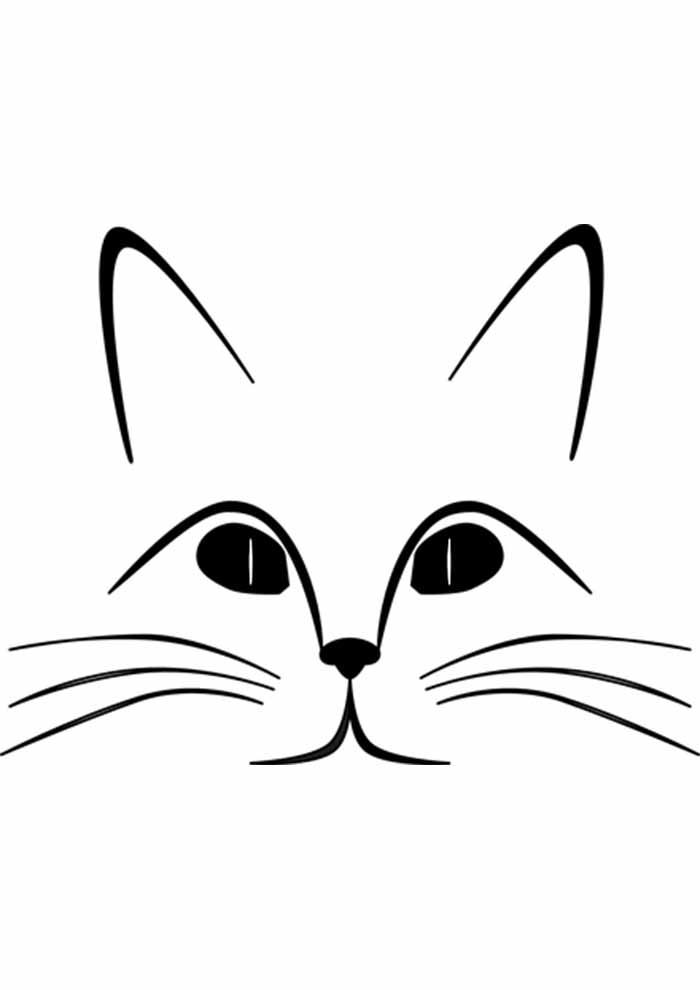 gato para colorir rosto e olho