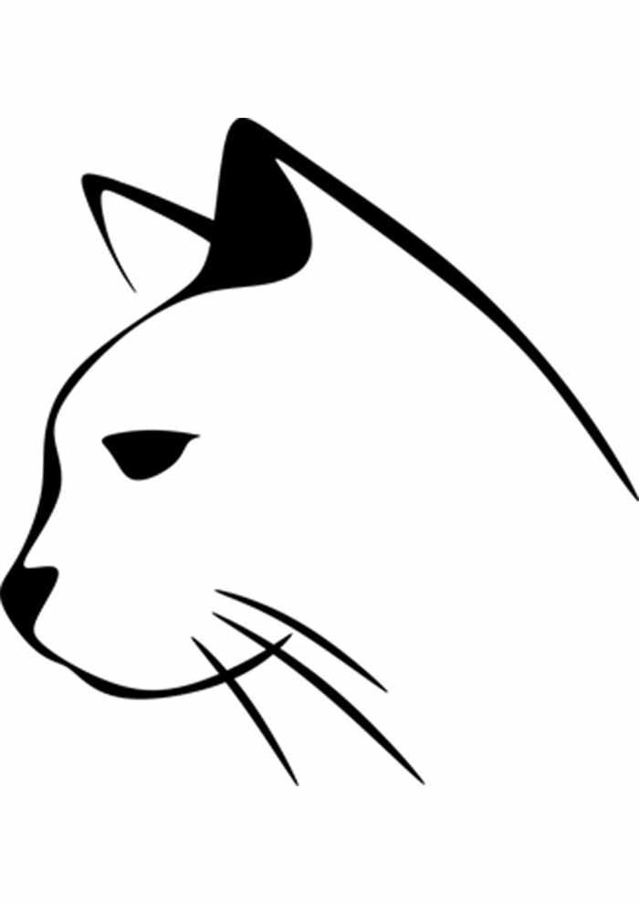 gato para colorir rosto perfil