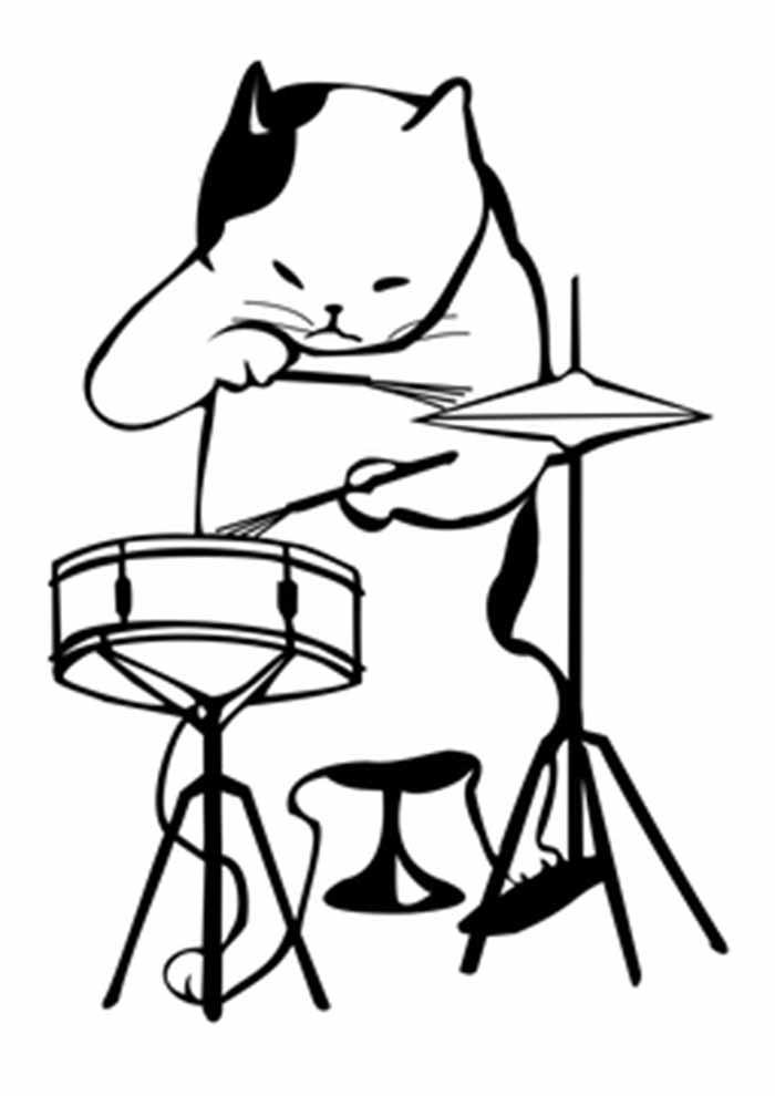 gato para colorir tocando bateria