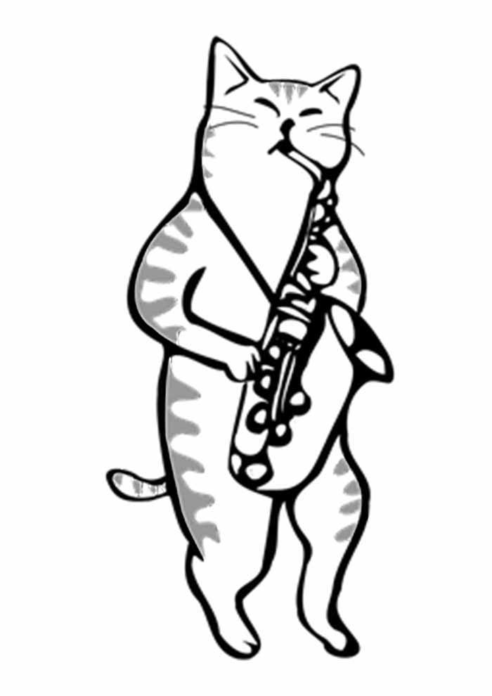 gato para colorir tocando saxofone