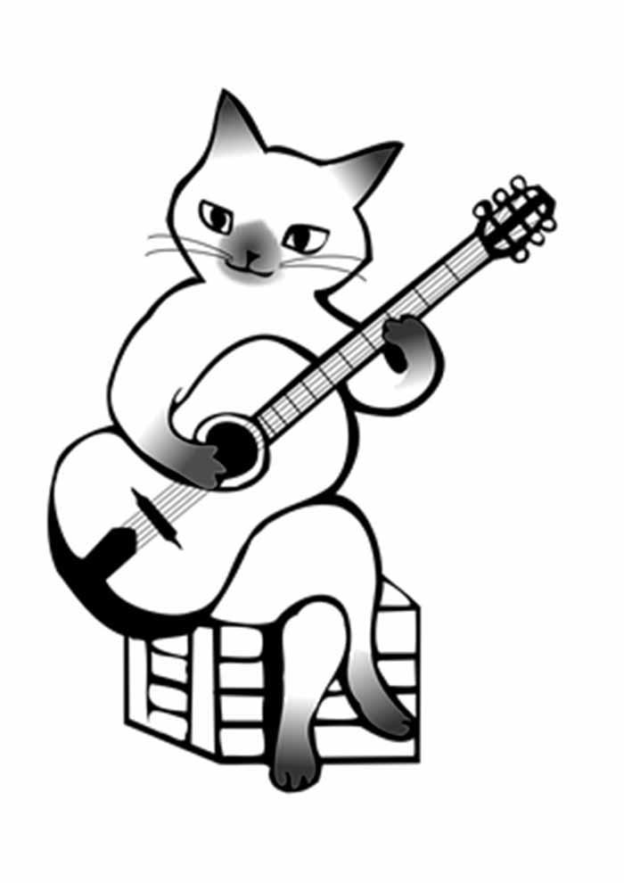 gato para colorir tocando violão