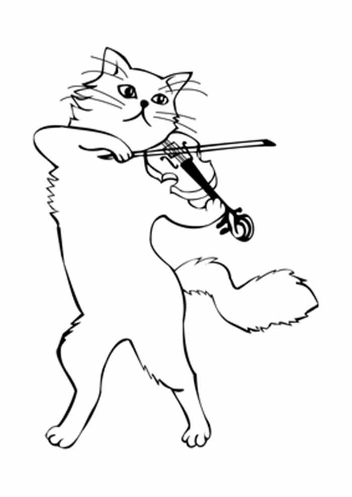 gato para colorir tocando violino