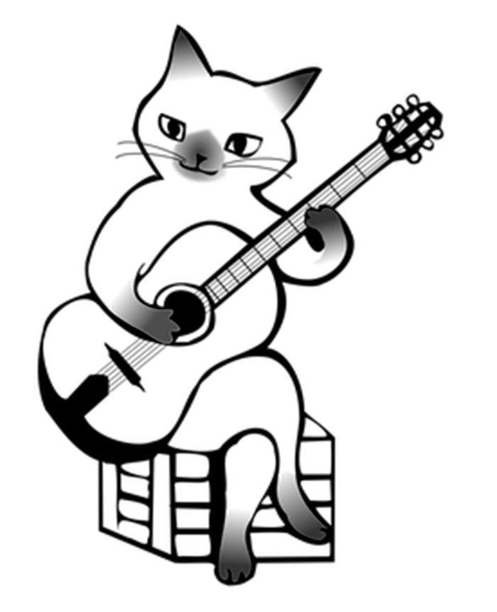 Gato tocando violão para colorir