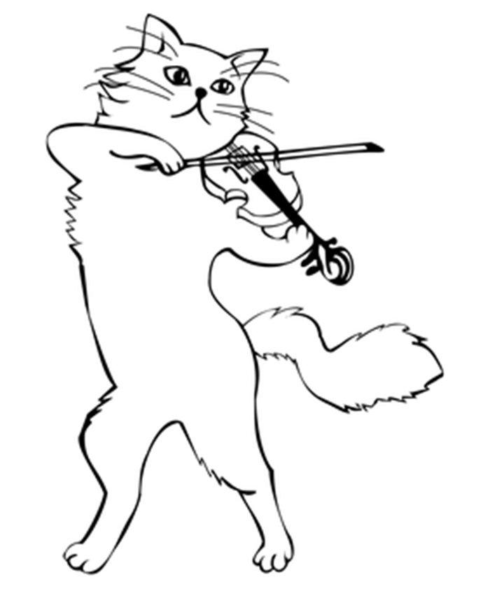 Gato tocando violino para colorir