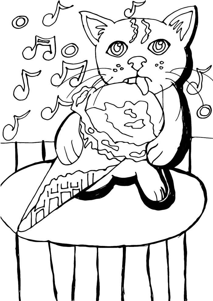 gato tomando sorvete