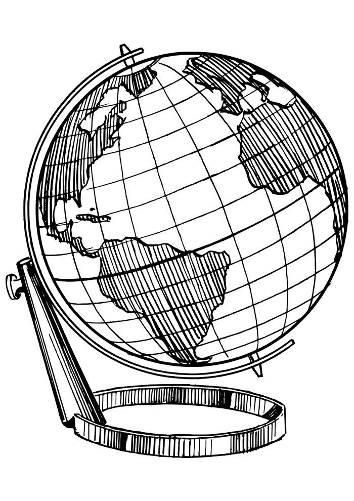 Globo terrestre para colorir