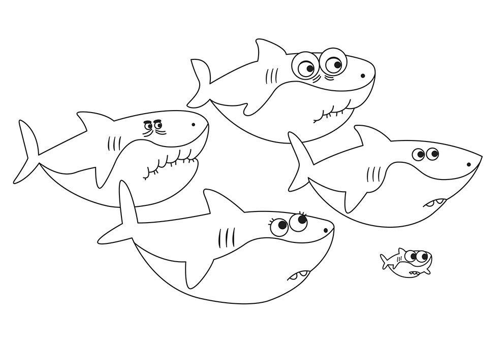 imagem baby shark para colorir