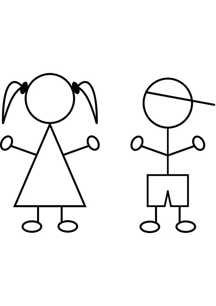 imagem menina e menino para colorir