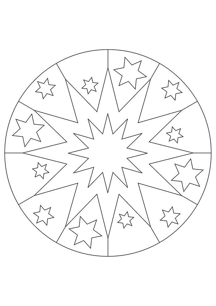 mandala estrela de natal para colorir