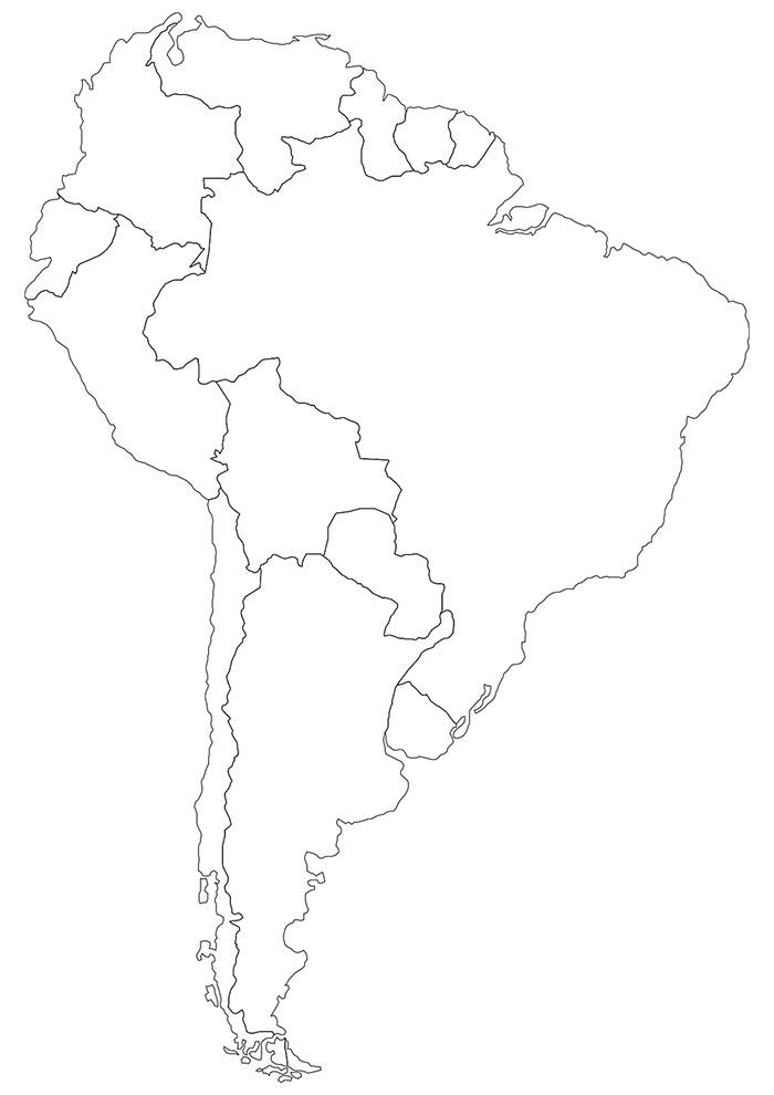Mapa América do Sul para colorir