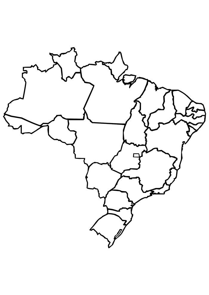 Mapa das regiões do Brasil para colorir