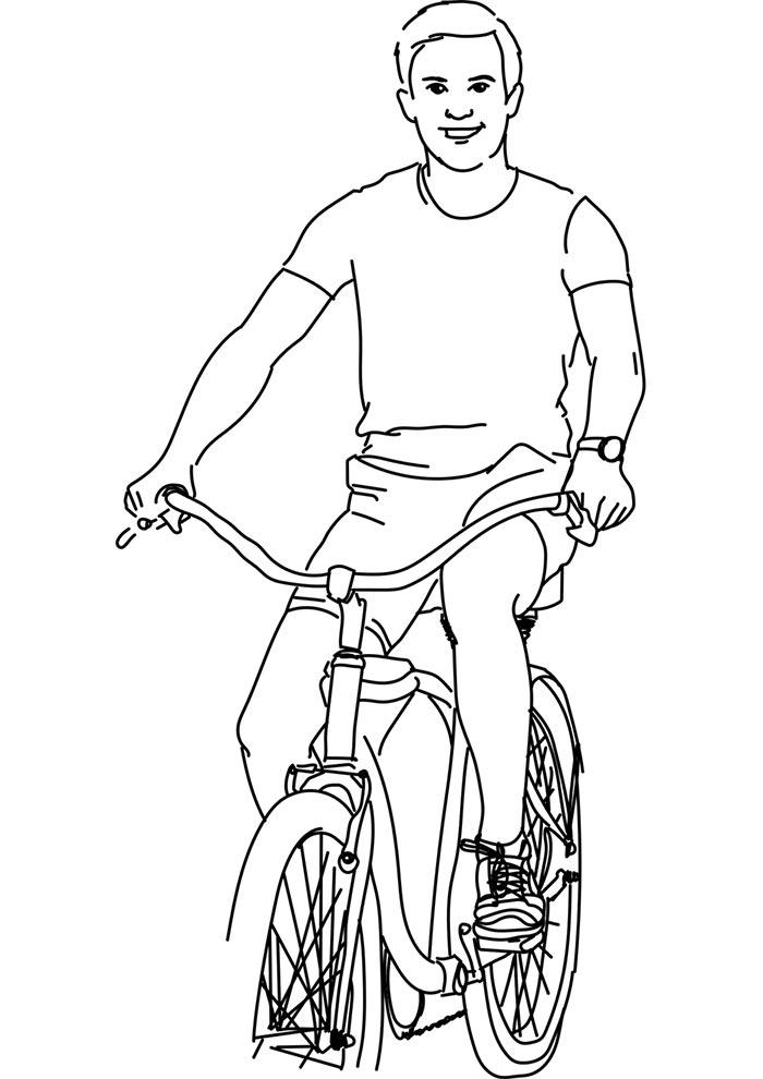 menino andando de bicicleta para colorir