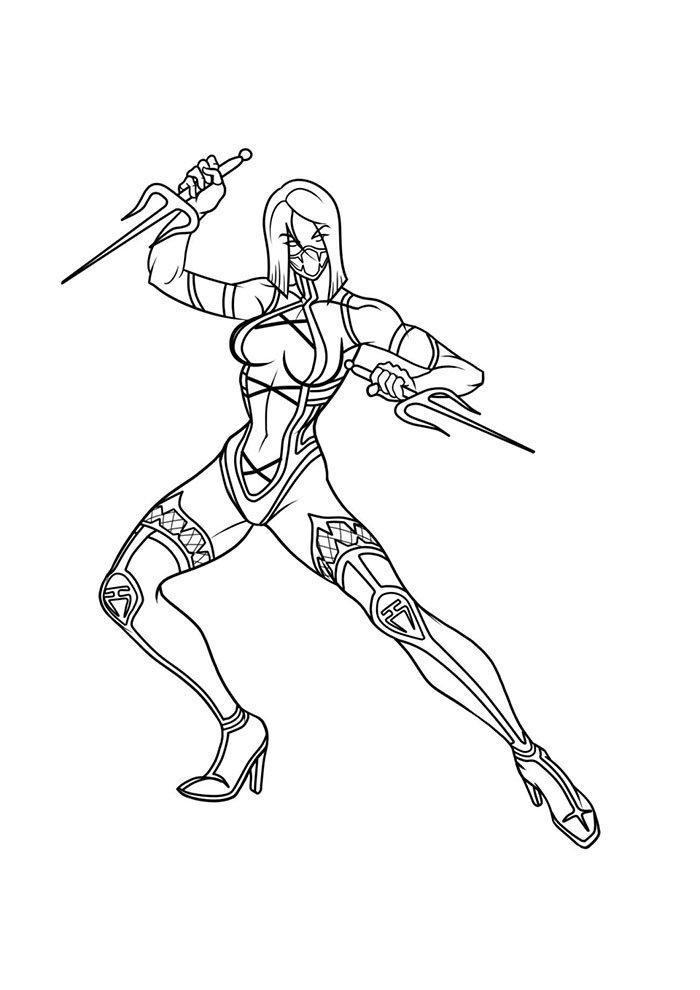 Menina do Mortal Kombat para colorir