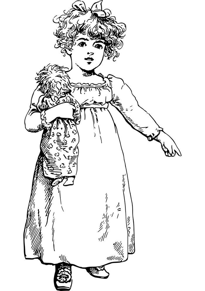menina e boneca para pintar