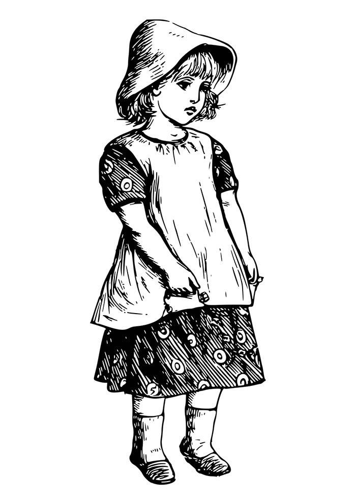 menina em desenho para imprimir