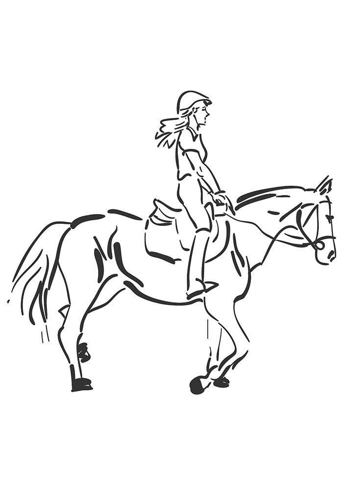 menina no cavalo para colorir