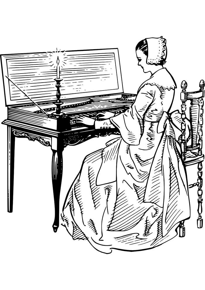 menina pianista para imprimir e colorir