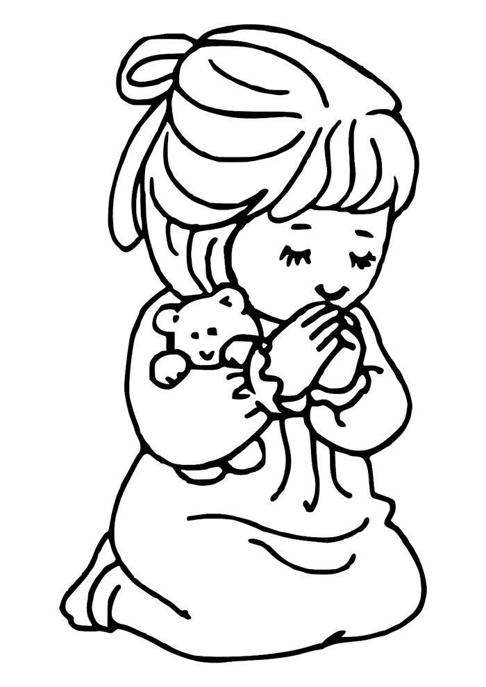menina rezando para colorir