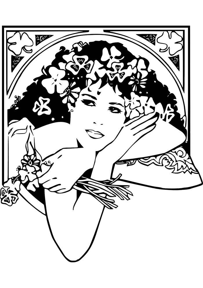 meninas com coroa de flores para imprimir