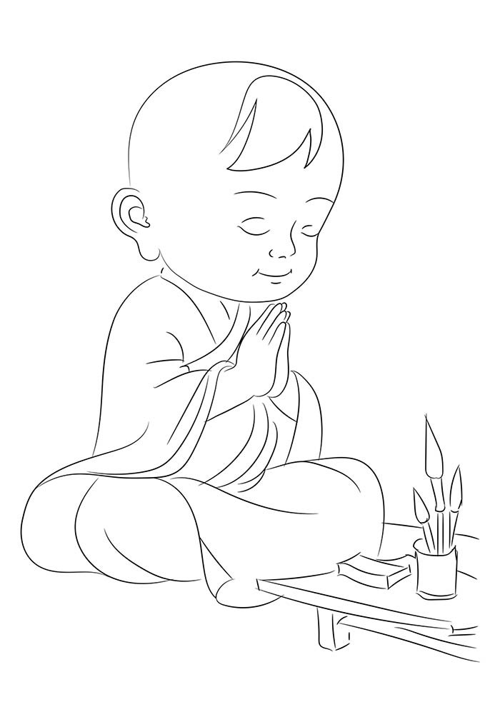 menino rezando para colorir