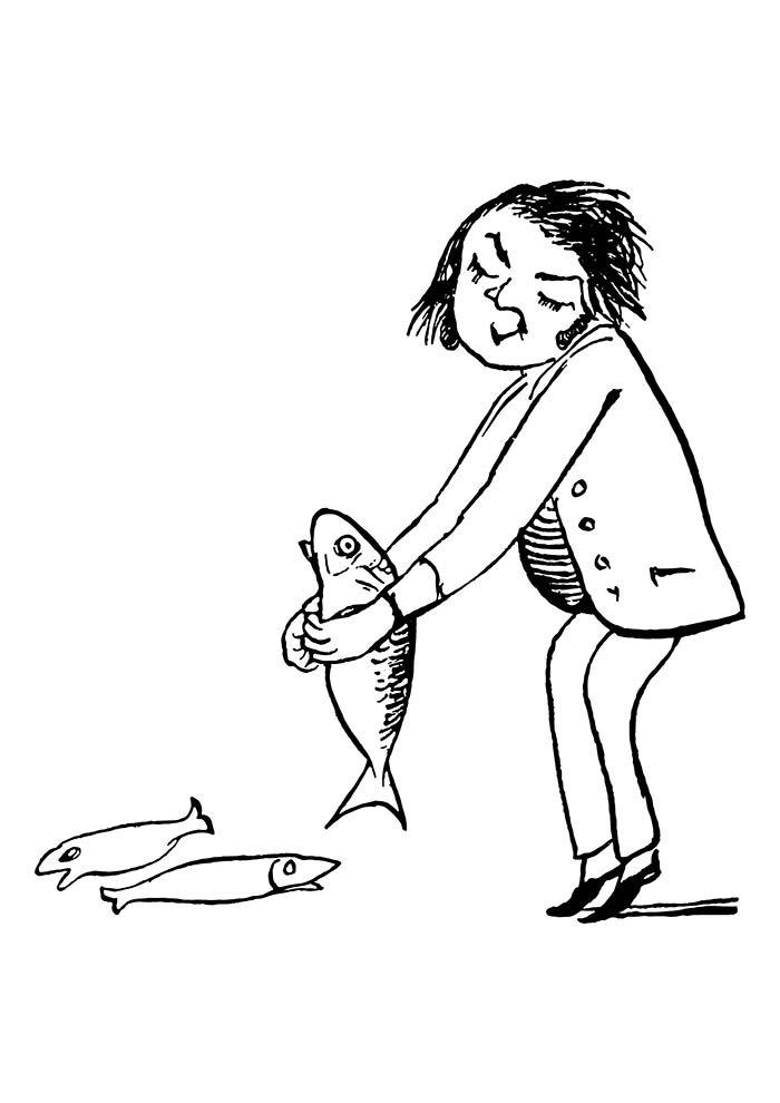 mulher segurando peixe