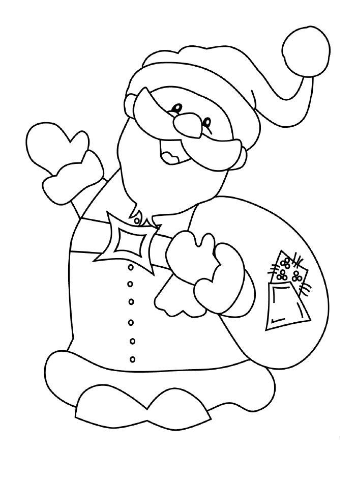 papai noel para colorir com saco de presentes