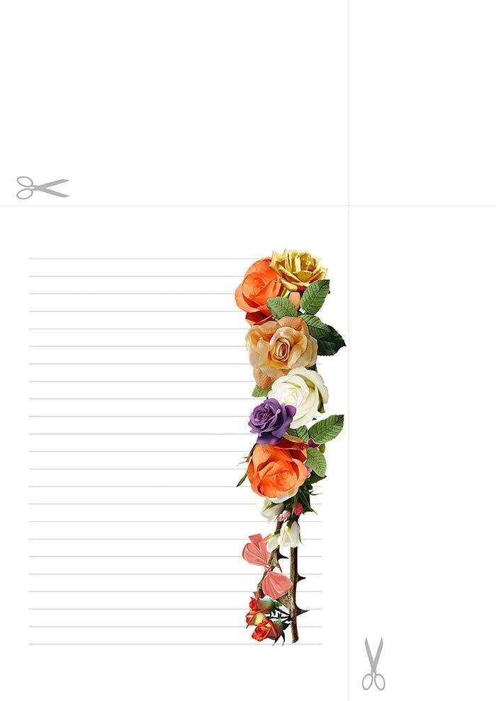 Papel de carta com linhas decorado para imprimir