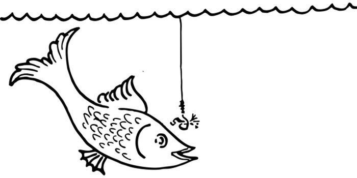 Peixe fisgando a isca para colorir