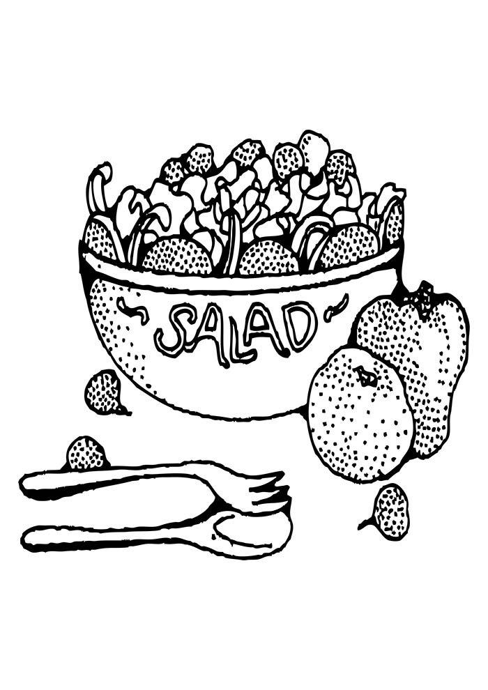 salada de frutas para colorir