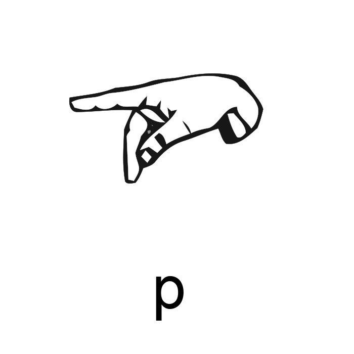 alfabeto em libras letra p