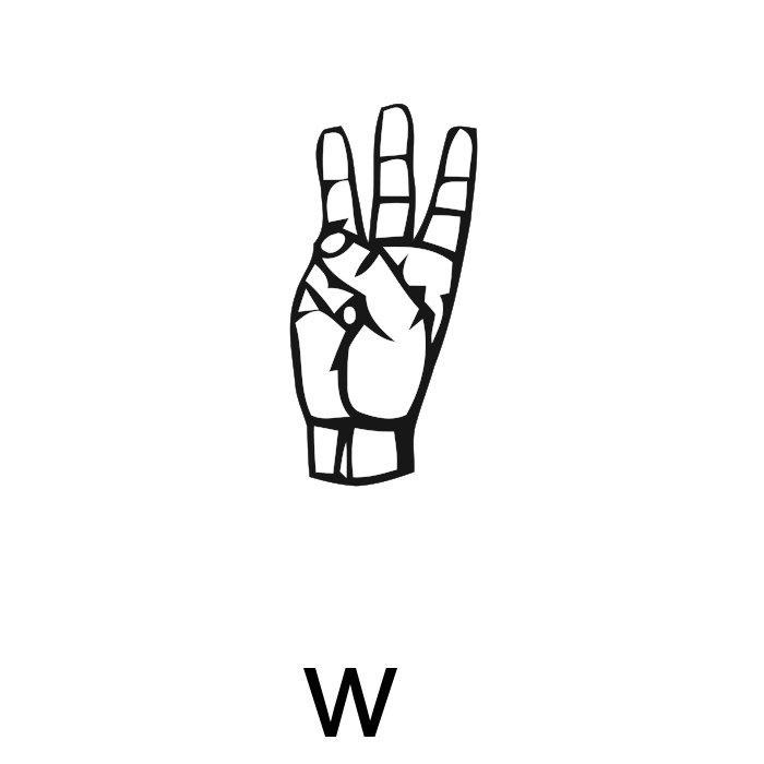 alfabeto em libras letra w
