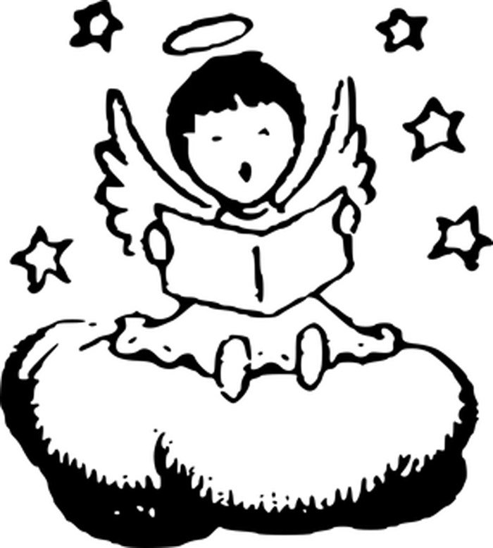 anjo e estrelas para colorir