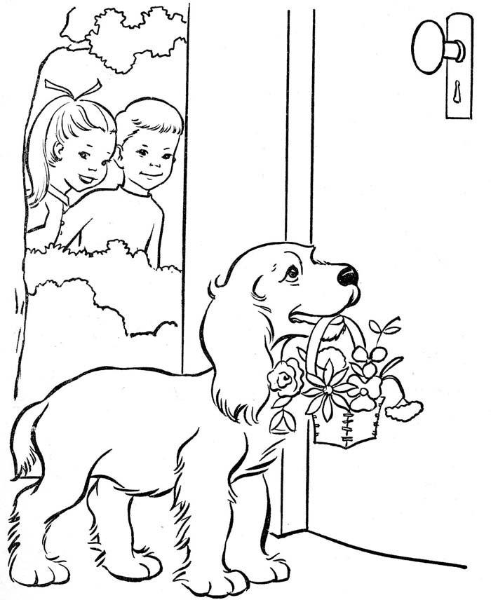 cachorro carregando cesta de flores