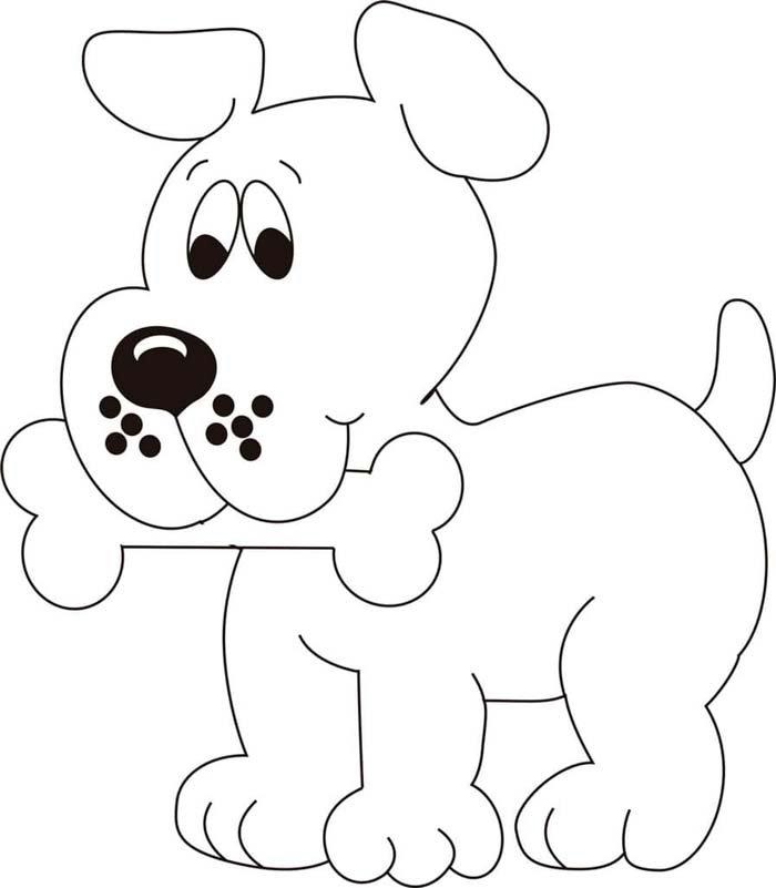 cachorro fofo com osso na boca