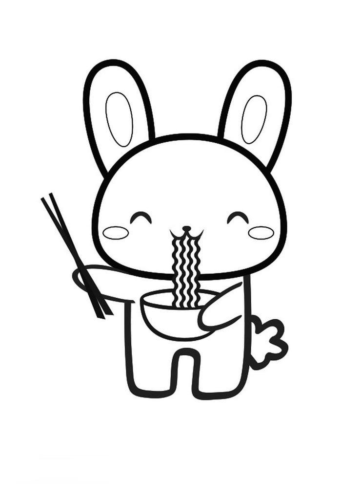 coelho kawaii para colorir