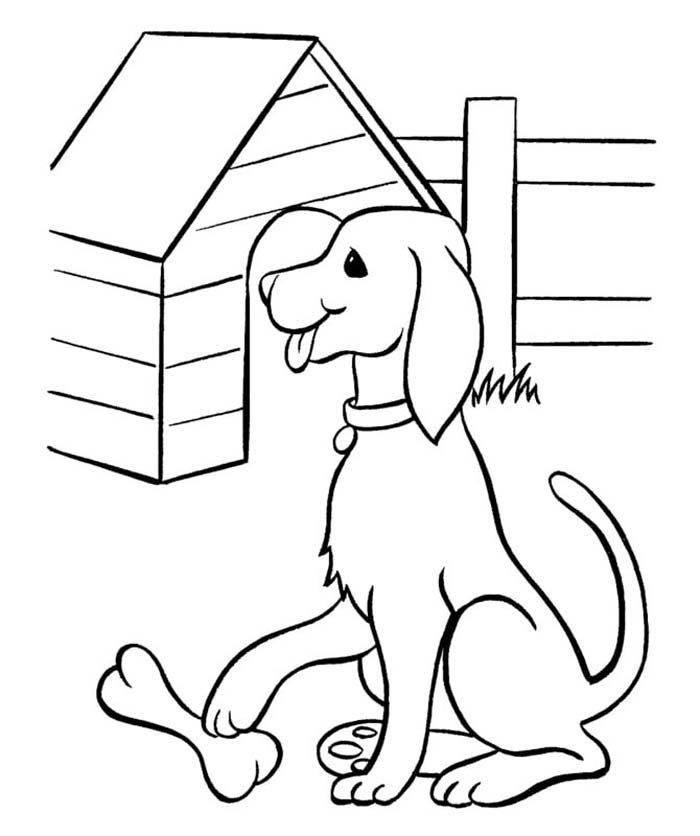 desenho de cachorro com osso e casa