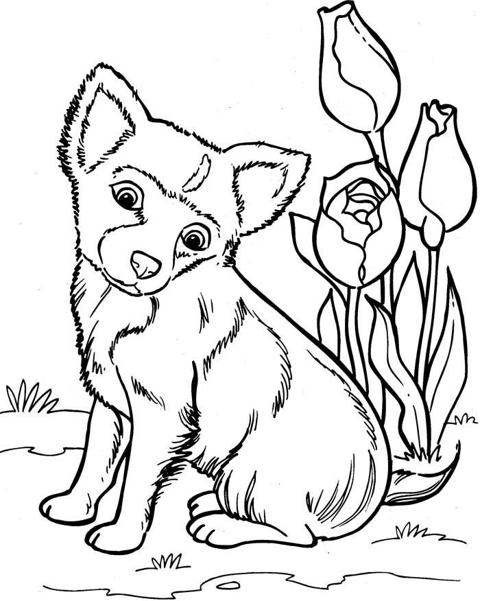 desenho de cachorro com flores