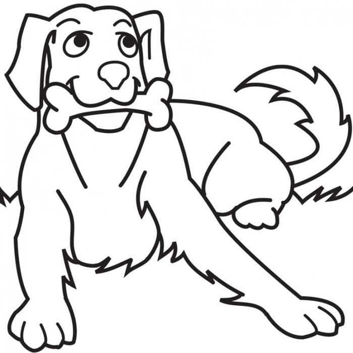 desenho de cachorro com osso na boca