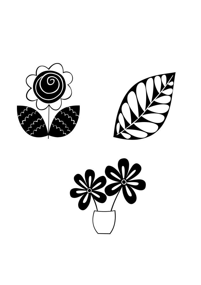 desenho de flores retrô para colorir