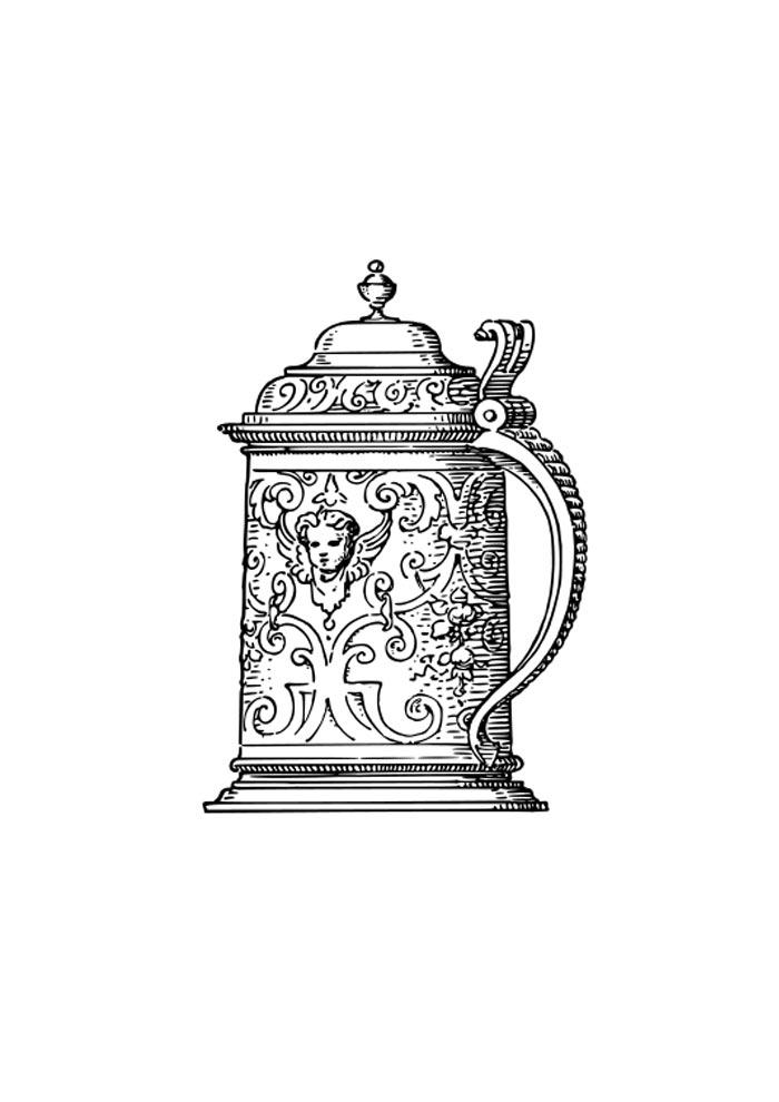 desenho de jarra detalhada para colorir