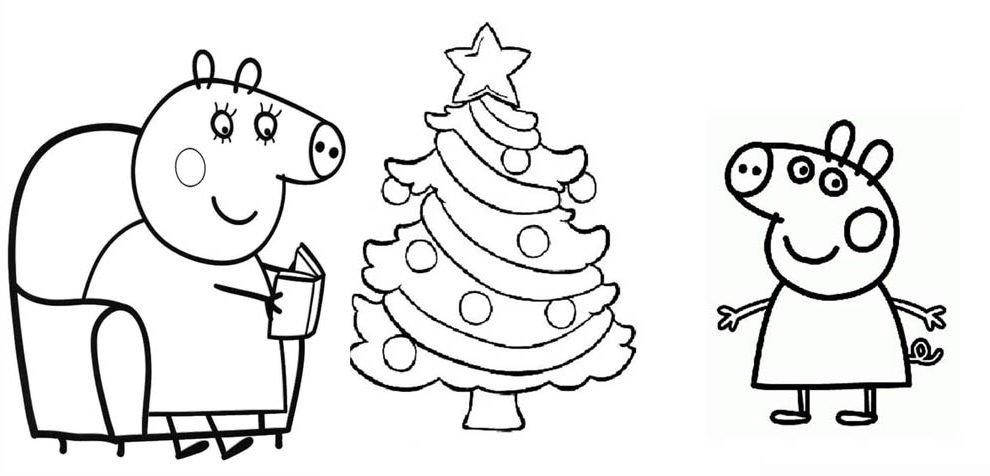 desenho de natal peppa pig para colorir