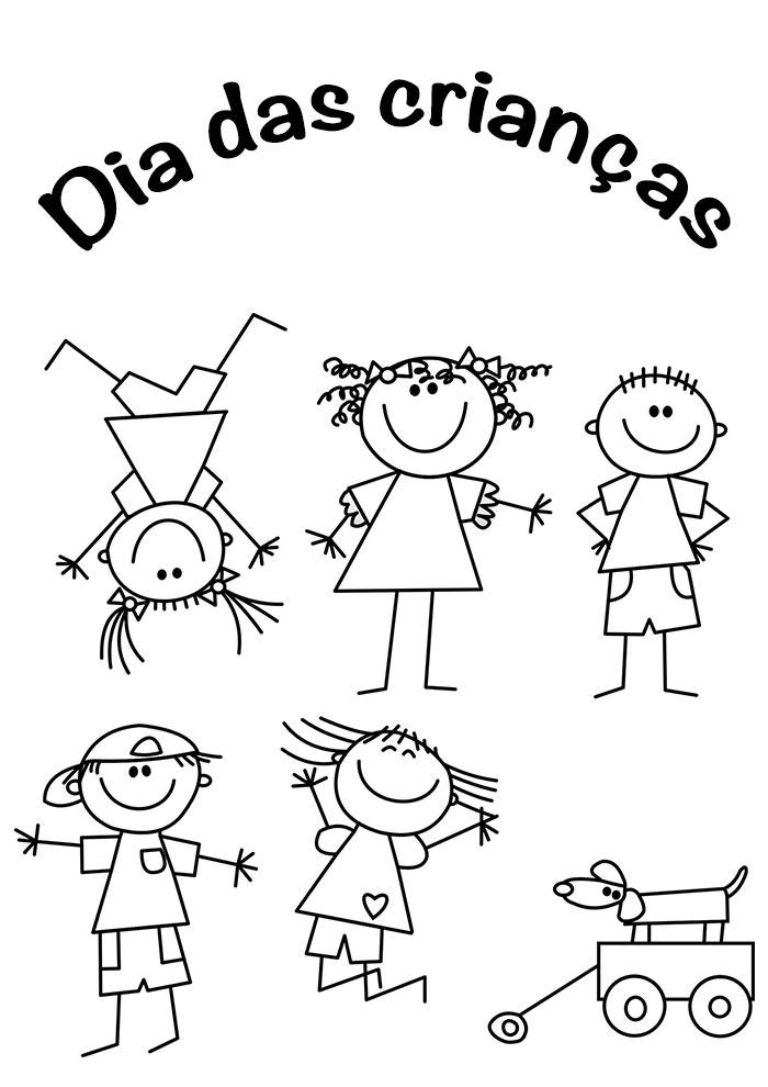 desenho dia das crianças para colorir